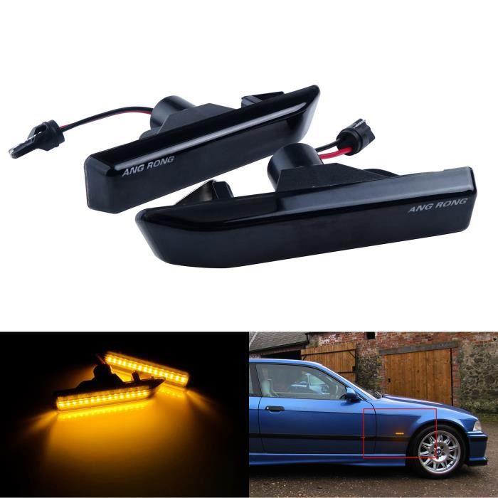 lentille Noir Feux Clignotant Repetiteur Lateraux LED Ambre Jaune Pour BMW X5 E53 2000-06, E36 M3 1997-99