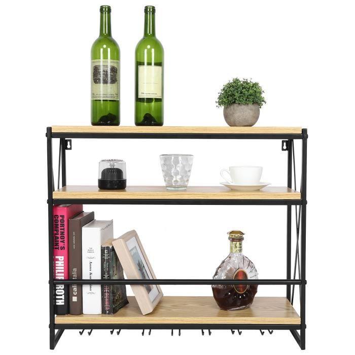 Casier à Vin Mural en Bois Étagère Porte-bouteilles de Vin Porte-verre Support pour Bouteilles Support de Rangement Déco HB035 -YNF