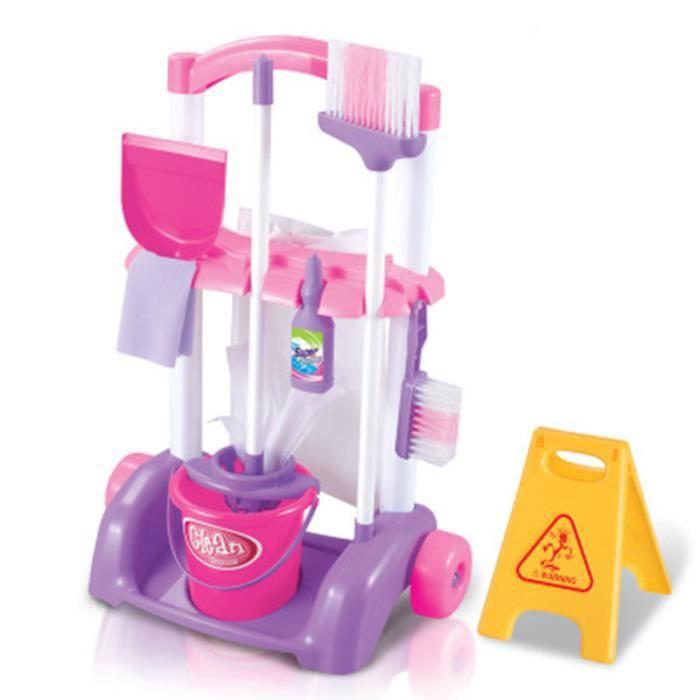 Ensemble de chariots de nettoyage de la maison , jouets de jeu pour enfants, ensemble de petits auxiliaires de nettoyage -Rose