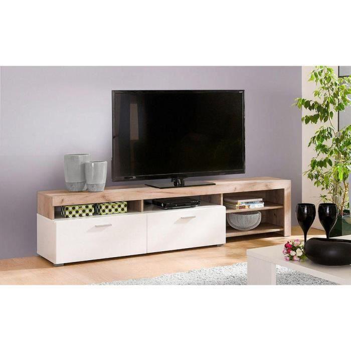 Tresice france Meuble TV IRIS 140 cm coloris chêne et blanc