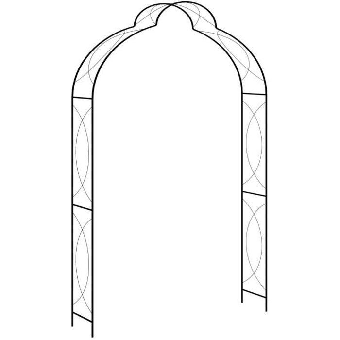 •MONDE5506Arceau Voûte de jardin Elégant-Arche de jardin-Arceau à Rosiers Pergola à appentis Noir 150x34x240 cm Fer