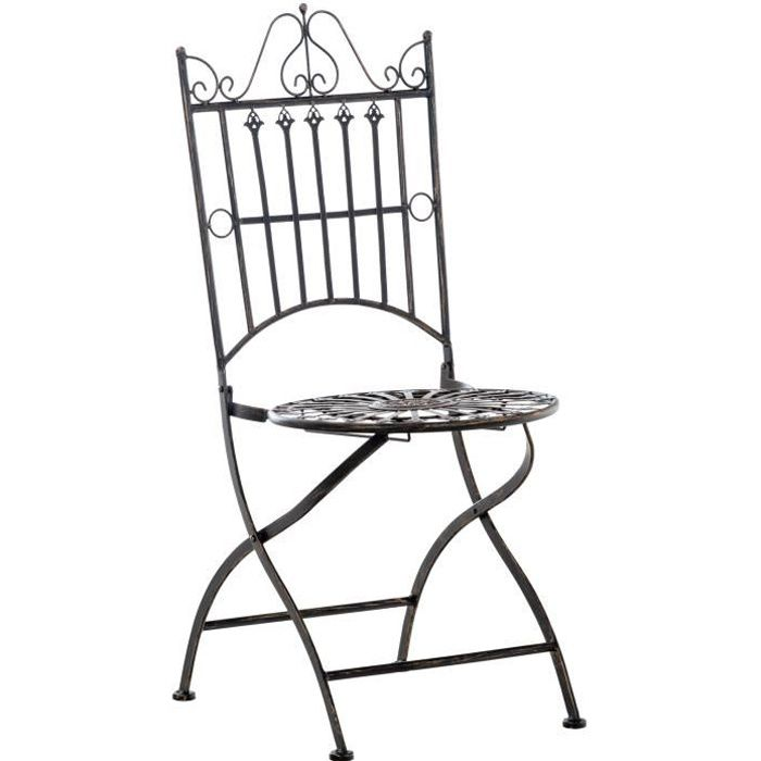 Chaise de Jardin Pliante Sadao en Fer forgé avec Hauteur d'Assise 44 cm [Bronze]