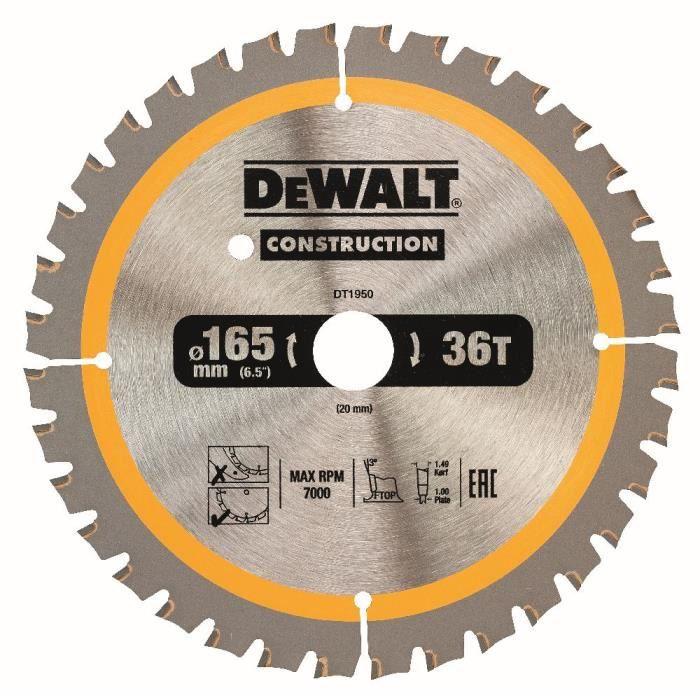 DeWALT Lame de scie circulaire, pour scies circulaires sans fil, 165-20 mm, 40 dents - DT1950-QZ