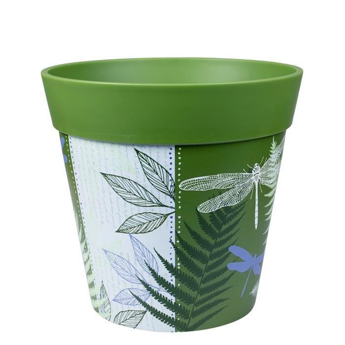 Hum Flowerpots Pot de Fleurs Colorés d'intérieur/extérieur Libellules Vertes