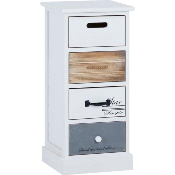 Chiffonnier DANIA étagère de rangement 4 tiroirs en bois de paulownia blanc brun gris, style shabby chic vintage maison de campagne
