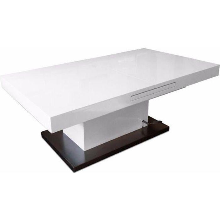 Table basse relevable extensible SETUP blanc brillant transparent verre Inside75