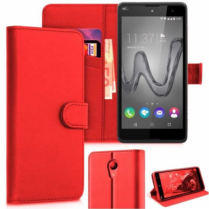 Coque pour Wiko Robby, Etui Wiko Robby, Housse Pochette Portefeuille Wiko Robby -Rouge