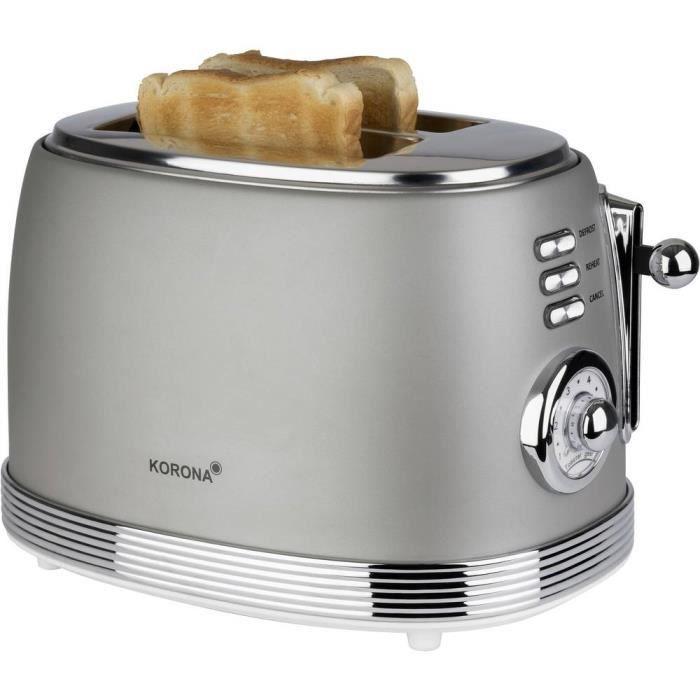 Grille-pain Korona Retro 21667 fonction toast, avec grille spéciale viennoisieries gris 1 pc(s)