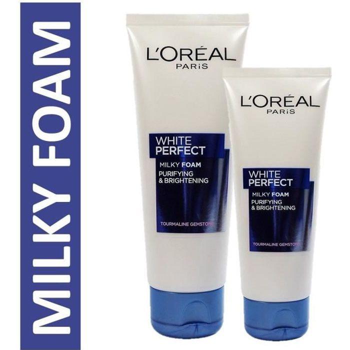 Le lait moussant éclaircissant visage WHITE PERFECT aide à éliminer les cellules mortes de la surface de la peau pour plus de clarté