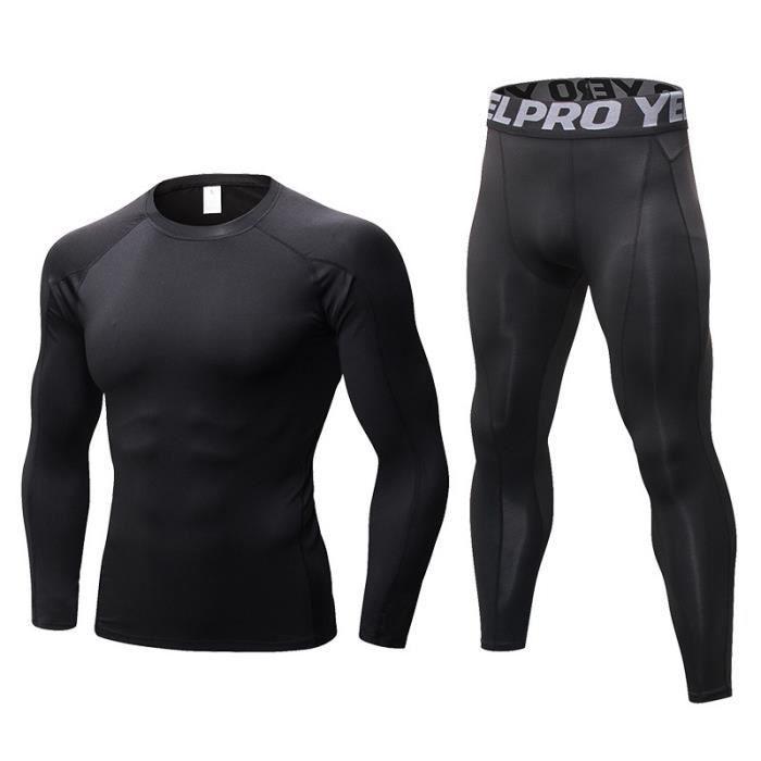 Ensemble de Sport Homme T-shirt de Compression et Collant Fitness Stretch Séchage Rapide