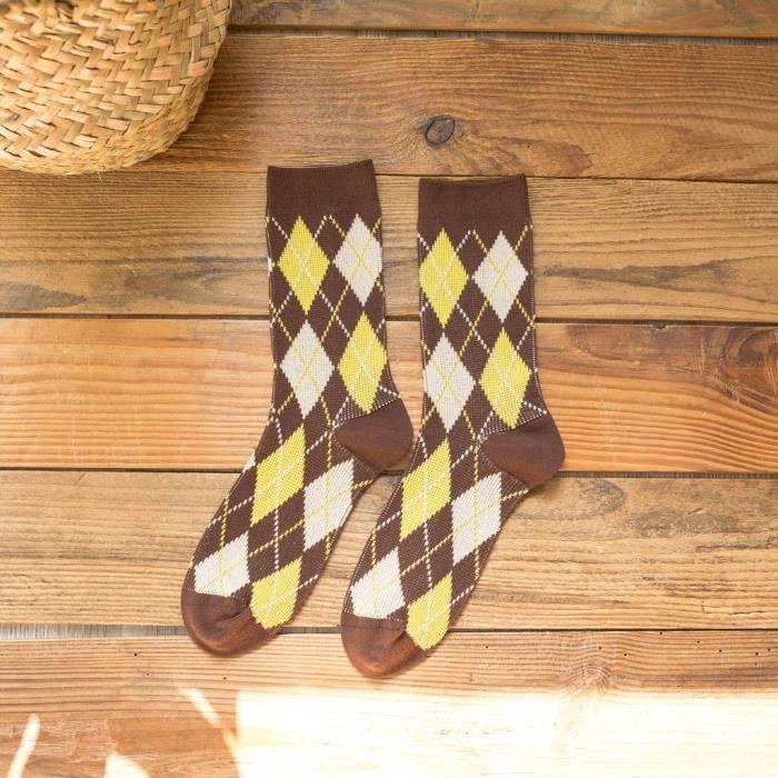 Chaussettes tricotées couleur losange hiver pour femmes chaussettes de sol bas Chaussettes