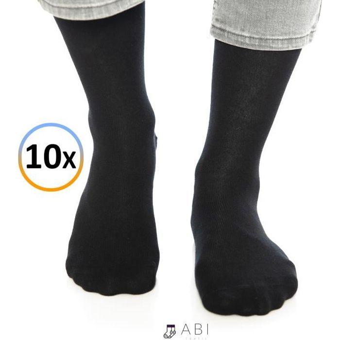 ABI - Chaussettes classiques Noir Homme Femme Coton (10 paires)