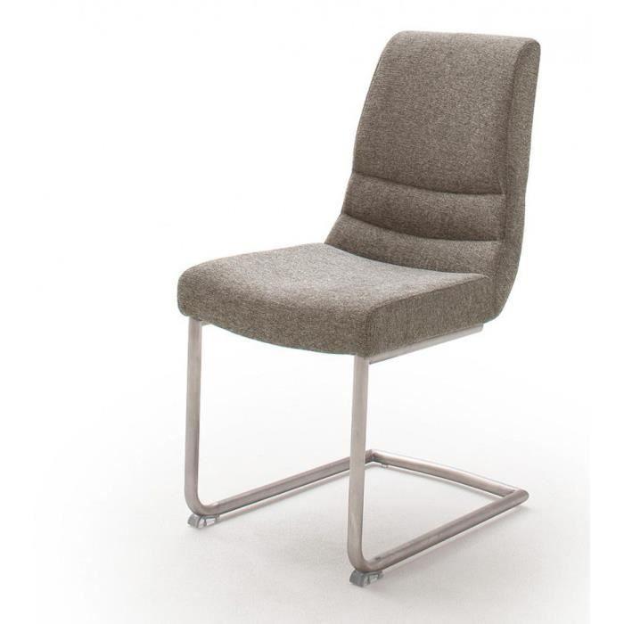 Lot de 2 chaises capitonnées en tissu avec poignée, coloris cappuccino - L.45 x H.90 x P.63 cm