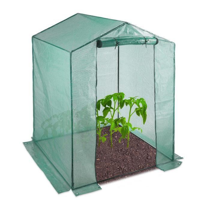 Relaxdays Serre de jardin tomates 200x155x155 cm porte serre tomates bâche housse vert porte enroulable, vert