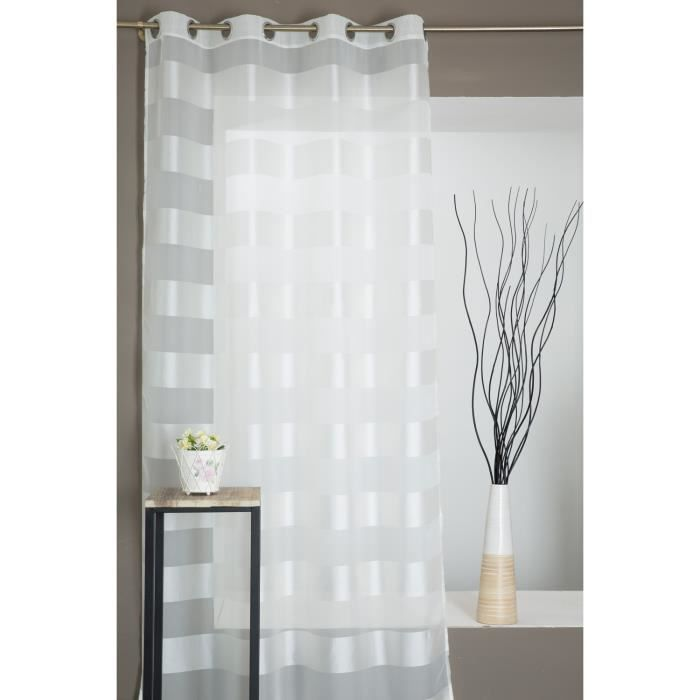 Rideau Voilage - Rayures Horizontales - Satinée écru - 140 x 240 cm