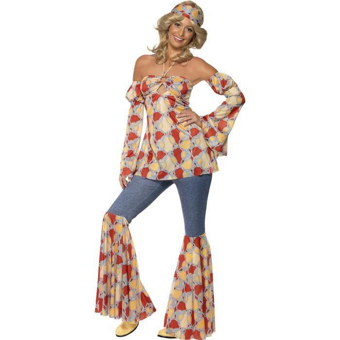 Smiffys Déguisement Femme Hippie Années 70, Haut à Dos Nu, Manches, Pantalon à Pattes D'éléphant Et Bandeau, 70 Disco, Serious Fun,