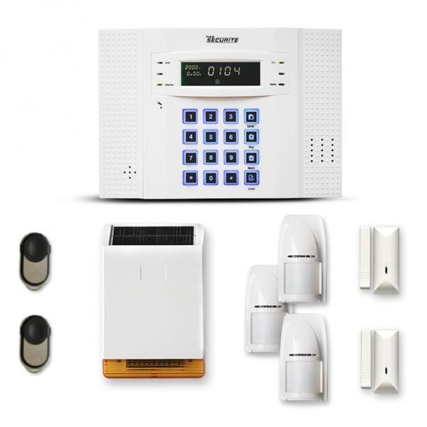 Alarme maison sans fil DNB 2 à 3 pièces mouvement + intrusion + sirène extérieure solaire - Compatible Box / GSM