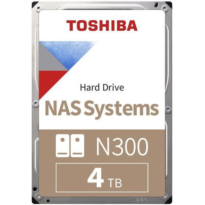 TOSHIBA - Disque dur Interne - N300 - 4To - 7 200 tr/min - 3.5- Boite Retail (HDWQ140EZSTA)
