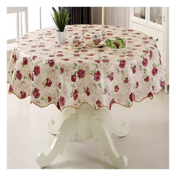 XM1328-Multifonctionnelle Table imperméable à Étanche à l'huile Nappe De Couverture De Table Ronde(Rose Romantique)