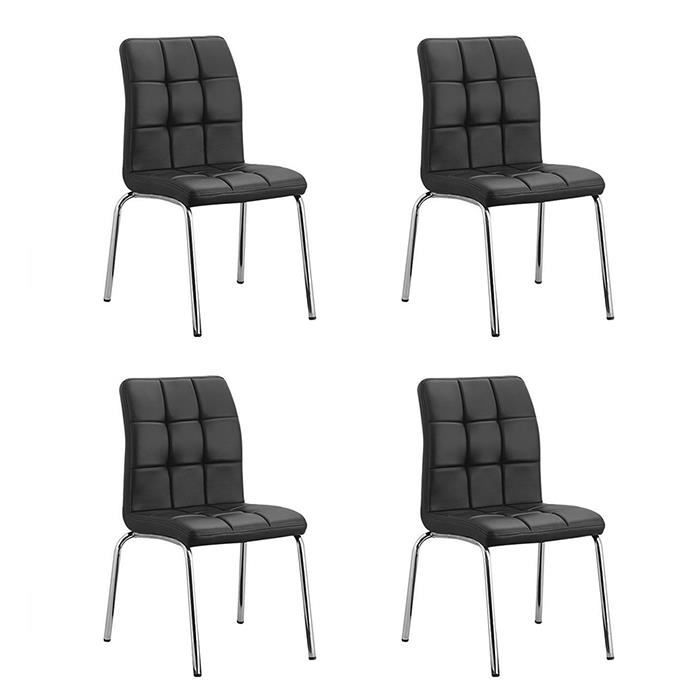 lot de 4 chaises salle manger noires nursia achat vente chaise noir cdiscount. Black Bedroom Furniture Sets. Home Design Ideas
