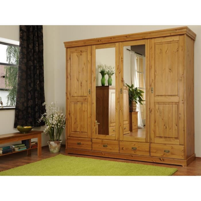 armoire garden avec 4 portes en pin massif miel massivum. Black Bedroom Furniture Sets. Home Design Ideas