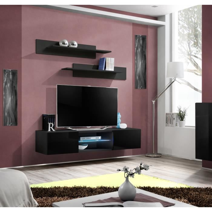 Price Factory Meuble Tv Fly Design Coloris Noir Brillant Meuble