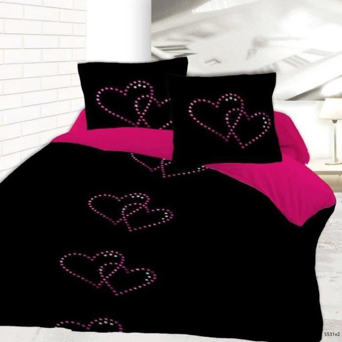 housse de couette 220x240 coeur strass 2 taies achat. Black Bedroom Furniture Sets. Home Design Ideas