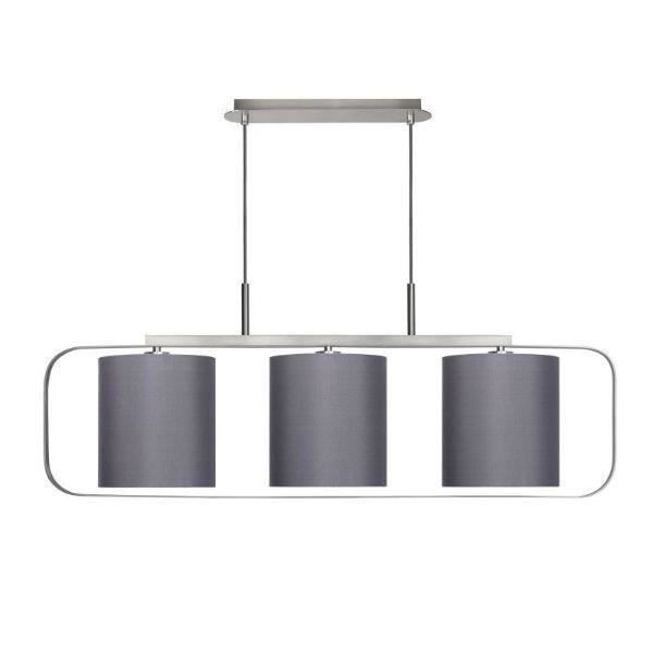 Lucide suspension triple abat jour cilindro 3 gris for Luminaire abat jour suspension