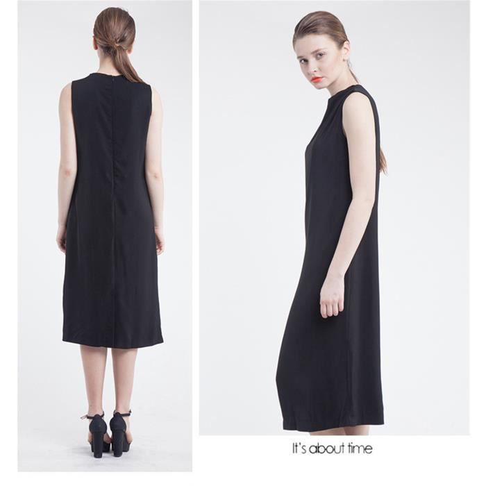 Robe Classique Femme Longue Au Dessous Du Genou Noir Noir Achat Vente Robe De Ceremonie Cdiscount