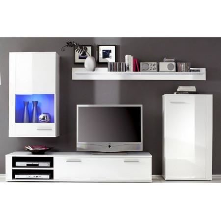 ensemble meuble tv mural led blanc laqu cameron cet ensemble comprend 1 vitrine avec. Black Bedroom Furniture Sets. Home Design Ideas