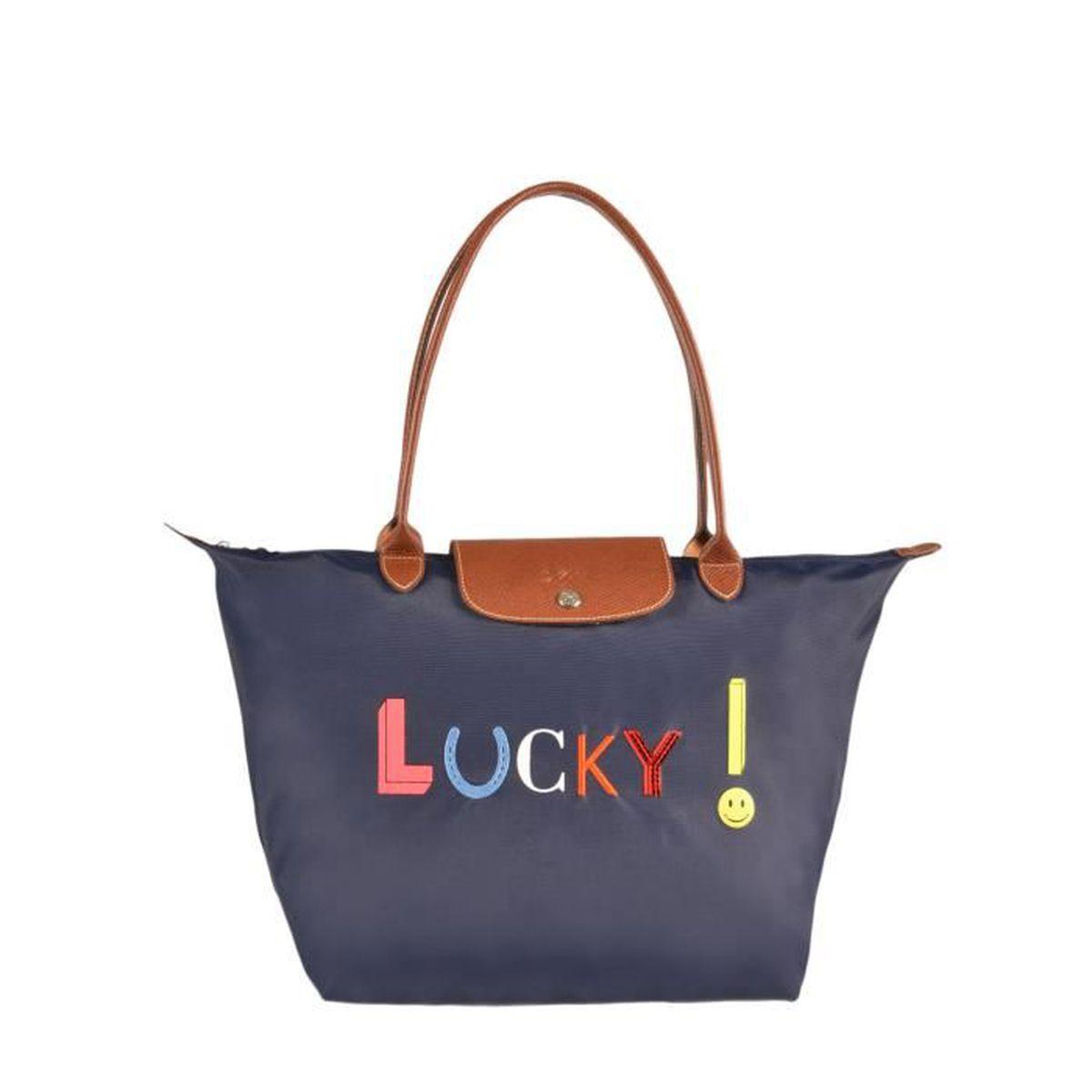 LONGCHAMP - sac femme porté épaule - MARINE PLIAGE LUCKY - Achat ...