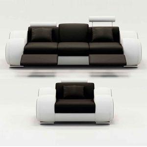 CANAPÉ - SOFA - DIVAN Ensemble cuir relax OSLO 3+1 places noir et blanc
