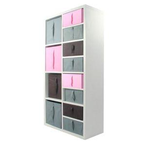 MEUBLE ÉTAGÈRE COMPO Meuble De Rangement 8 Cases + 12 Cubes Rose/