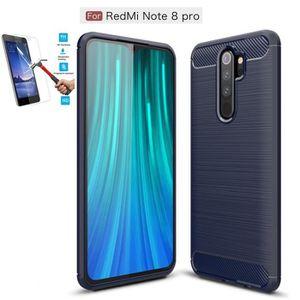 COQUE - BUMPER Coque Pour Xiaomi Redmi Note 8 Pro Carbone Bleu +