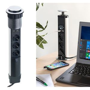 Bloc multiprise cuisine /à c/âbler 4 prises 2p+T et 2 USB avec clapets antipoussi/ères Otio