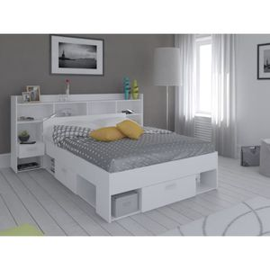 tete de lit avec rangement blanc achat vente tete de. Black Bedroom Furniture Sets. Home Design Ideas