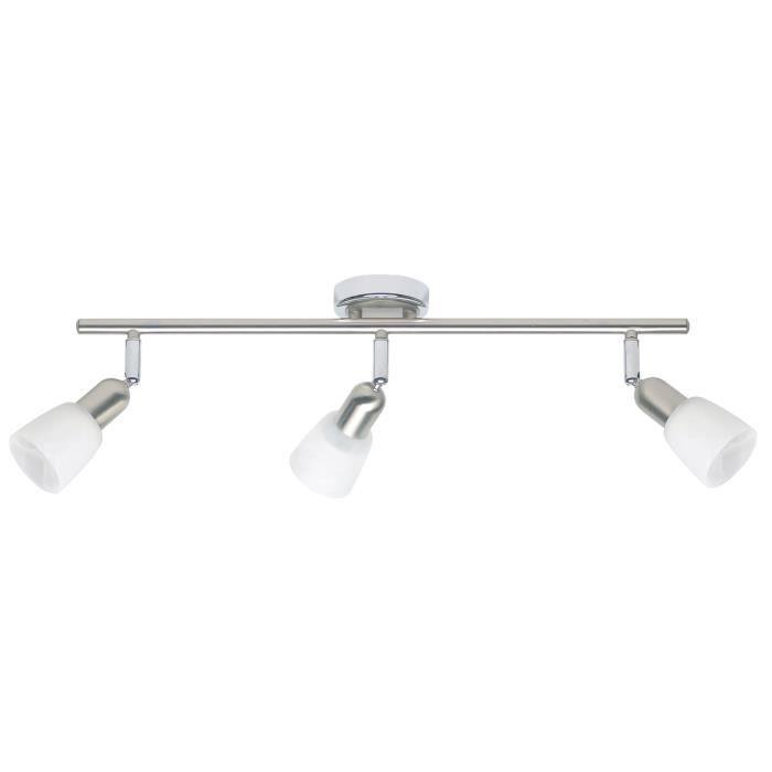 Plafonnier barre à 3 lumières Sofia hauteur 10 cm E14 40W acier, chrome et blanc
