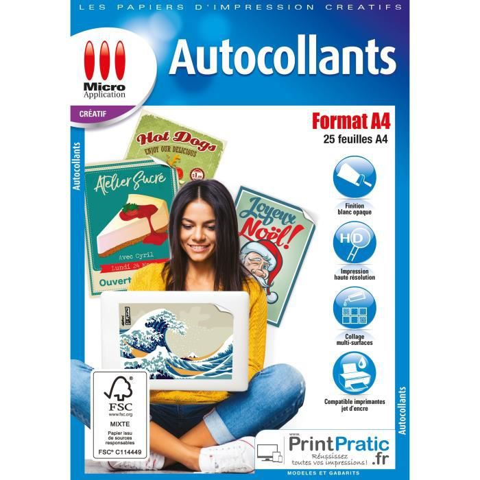 Pack 25 autocollants Format A4 Micro Application MA-5067