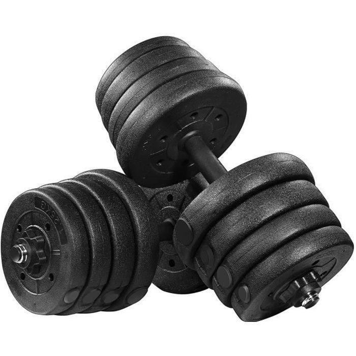 Lot d'haltères 30kg musculation réglables – poids musculation