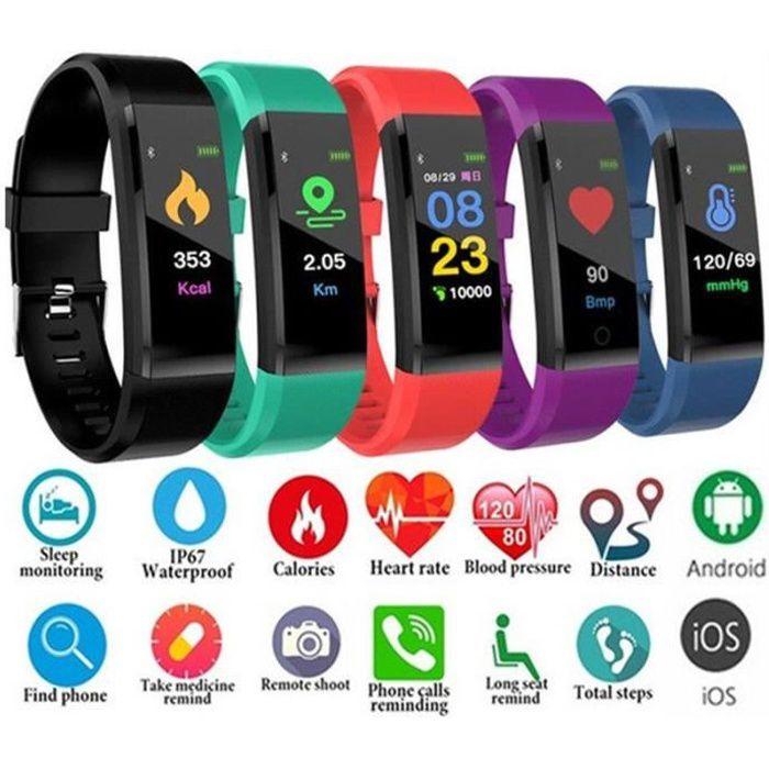 2019 Fitness Montre Intelligente Fréquence Cardiaque Tracker Activité pour les Femmes/Hommes/Enfants Android iOS étanche -VIOLET