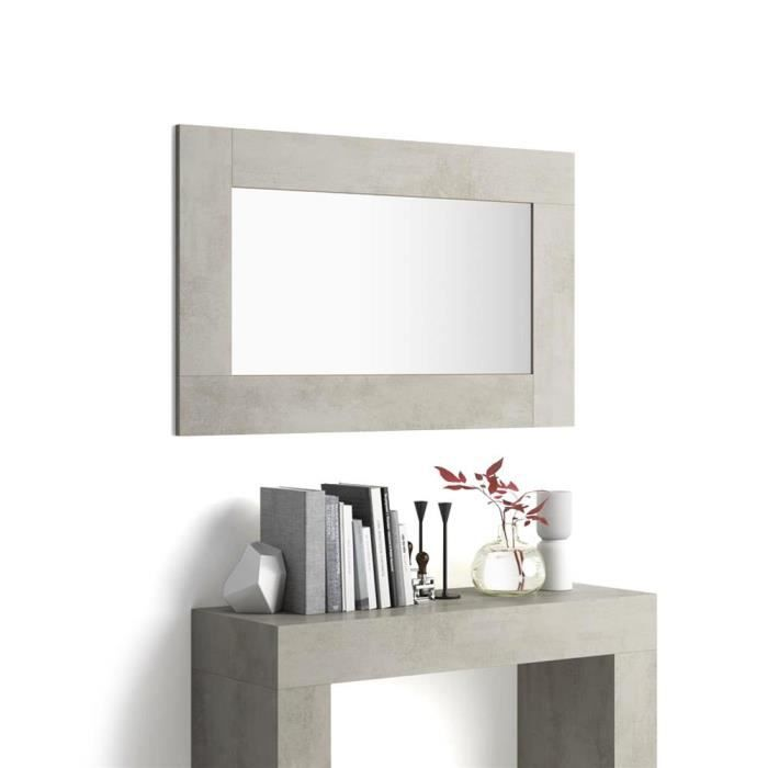 Mobili Fiver, Miroir mural rectangulaire, cadre béton, Evolution, Mélaminé/Verre, Made in Italy
