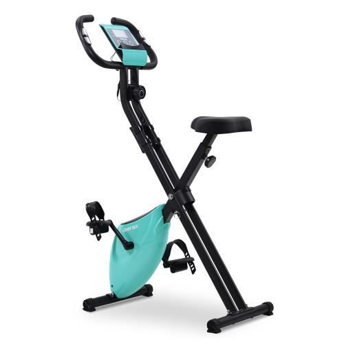 Vélo d'appartement pliable avec ordinateur LCD pour fitness et cardio--BLEU