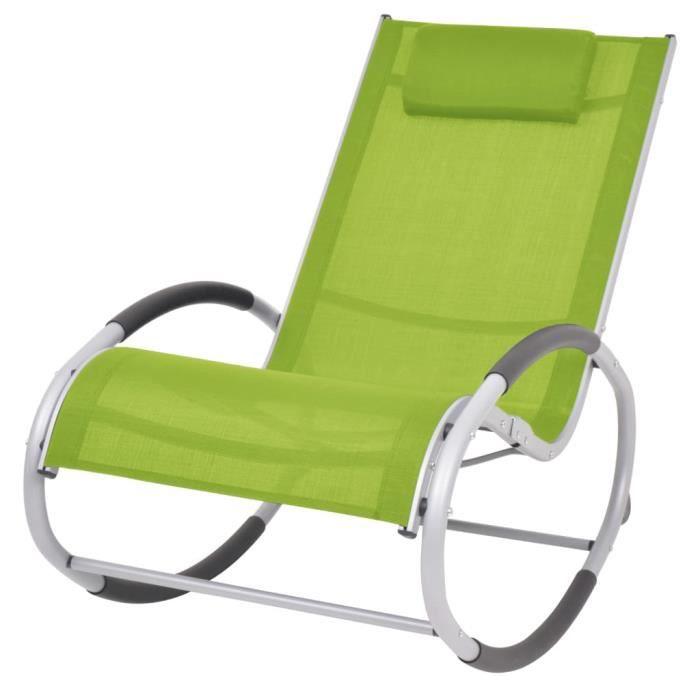 Fauteuil RELAX Chaise à bascule Fauteuil à Bascule d'extérieur Vert Textilène