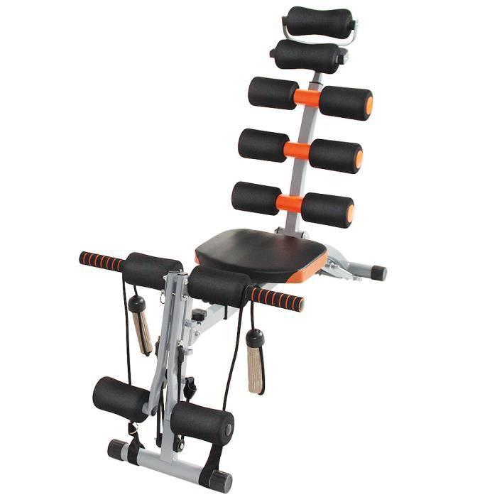 LAIZERE® Appareil de musculation pour abdominaux, bras dos et épaules - Acier enduit poudre - Orange / noir