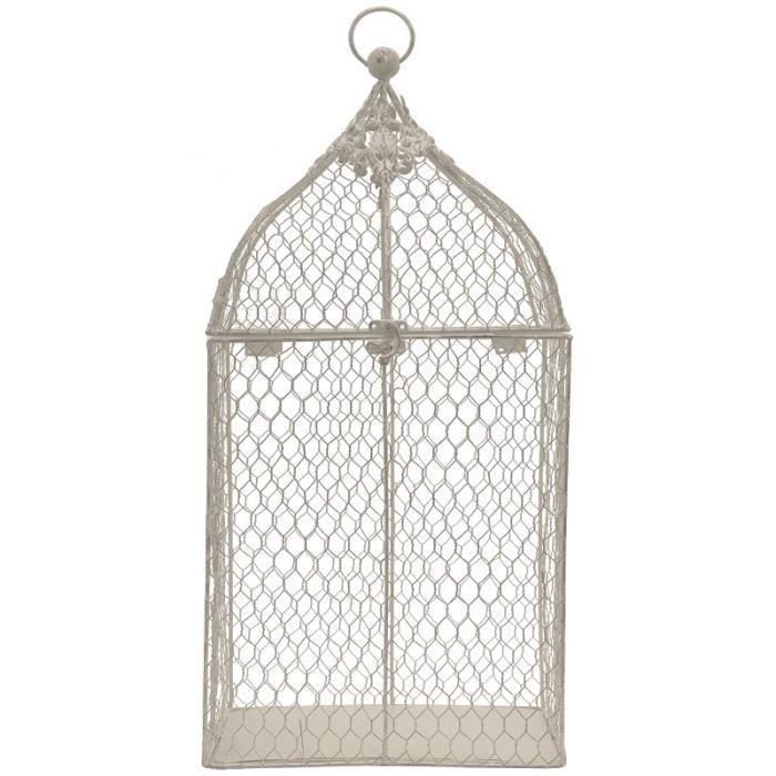 Grande Cage à Oiseaux de Décoration Grillagée Blanc 53 cm