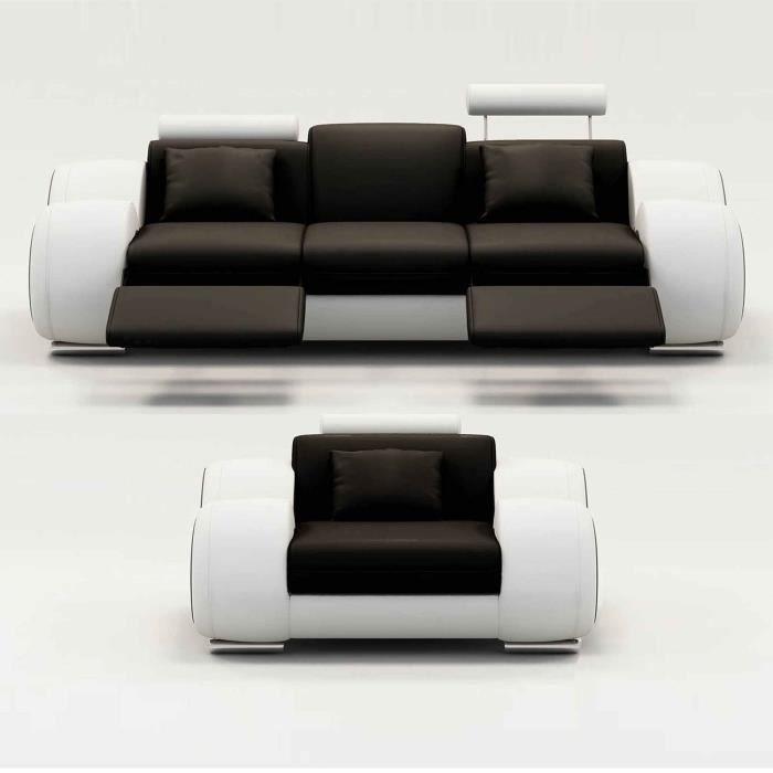 Ensemble cuir relax OSLO 3+1 places noir et blanc
