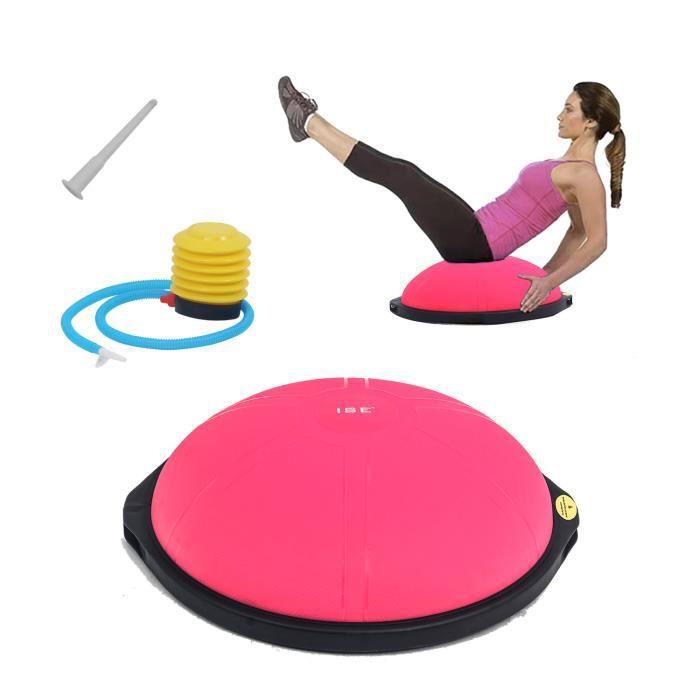 ISE Balance trainer, Demi-Ballon d'Entraînement Ø 64 cm,avec Câbles de Resistance et Pompe,pour Yoga, Gymnastique,Rose