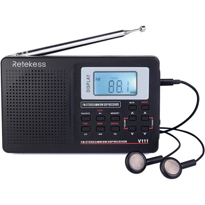 RADIO CD - RADIO CASSETTE - FM Retekess V111 Radio Portable FM AM SW, DSP Poste Radio Transistor avec Minuterie Sommeil, Radio &143