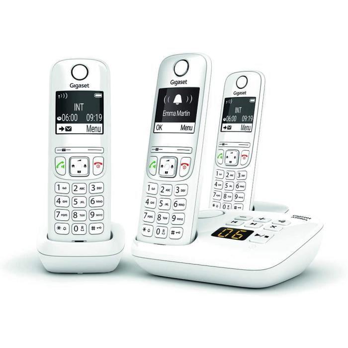 AS690A Trio - Téléphone fixe sans fil avec répondeur, 3 combinés avec grand écran rétroéclairé pour un affichage ultra lisible,