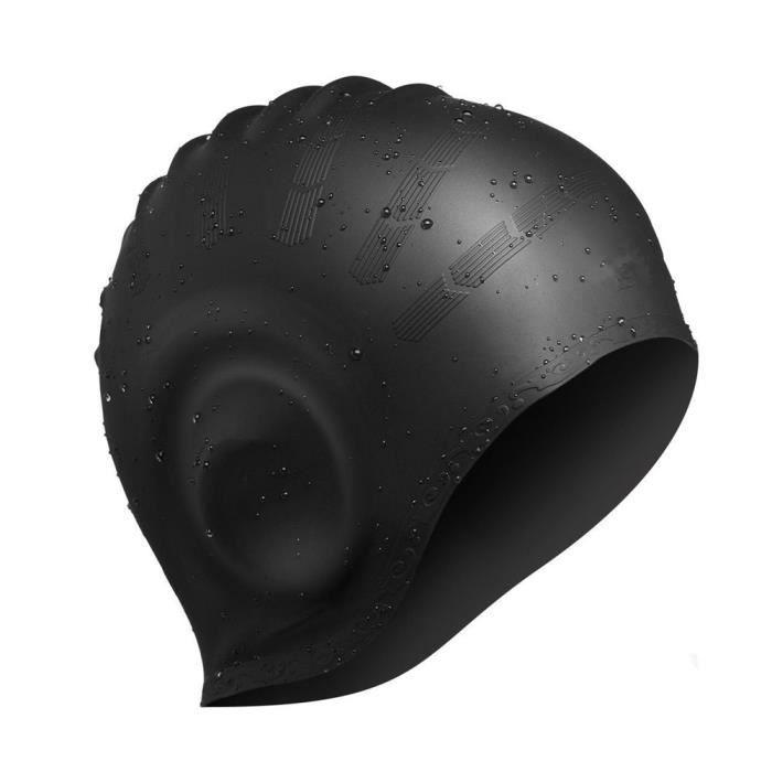 Avril Tian Bonnet de bain, étanche en silicone Unisexe Bonnet de bain Chapeau de cheveux longs avec cache oreille pour homme et f
